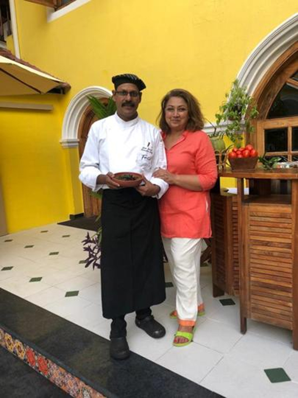 Karen Anand with Chef Gejo Joseph at the Forte Kochi boutique hotel